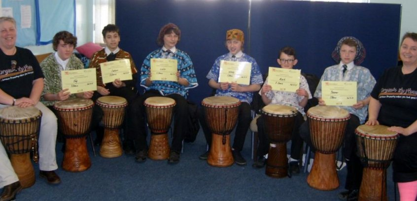 Westfield school students completing DRUMBEAT programme