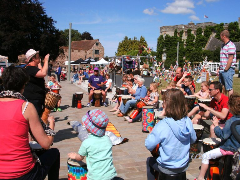 Drumming outside Taunton Castle