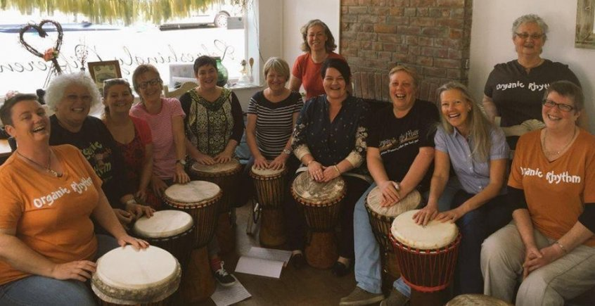 Emma Britton from BBC Somerset Radio with She Bangs Drum Group
