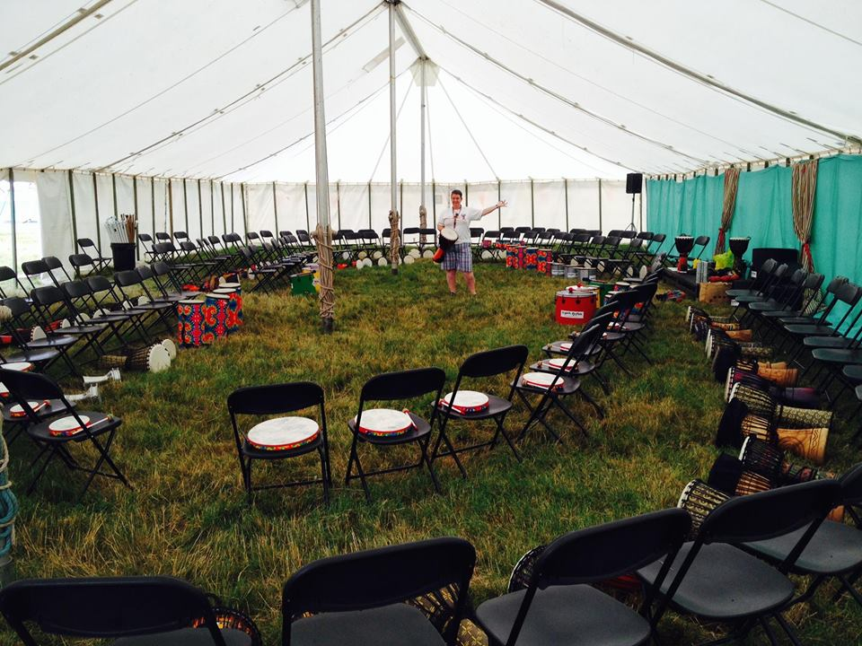 WINGS Drumming Set-Up in a Marquee